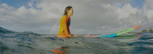 Female surfer sitting on her board in the water